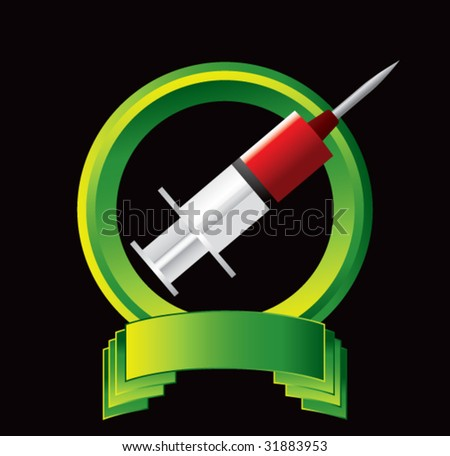 blood in syringe on green display - stock vector