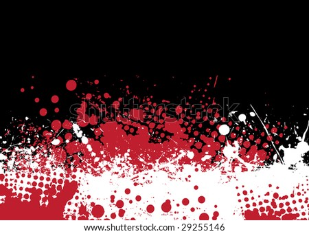 Blood splat abstract background with red and white ink pools - stock vector