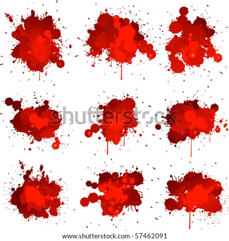 Blood splat collection - stock vector