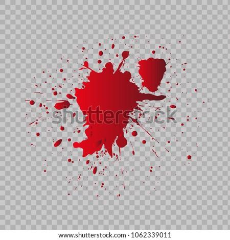 Blood splatter on transparent background.