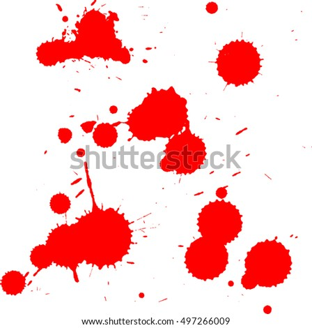 Bloodstain design elements isolated on white background