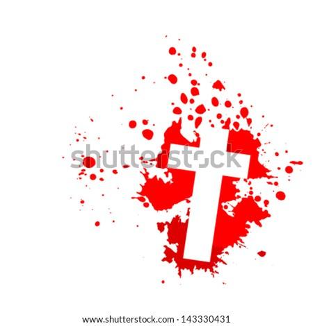 Bloody cross - stock vector