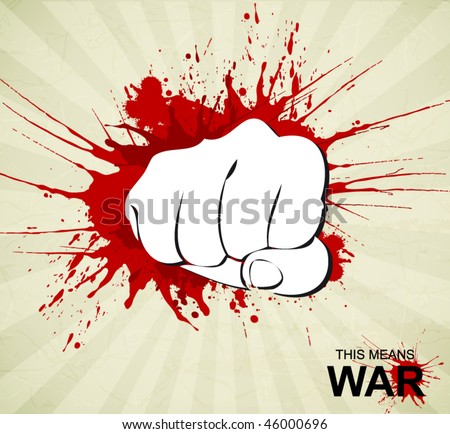 bloody fist poster - stock vector