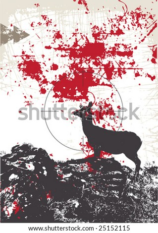 Bloody hunter theme template vector with deer