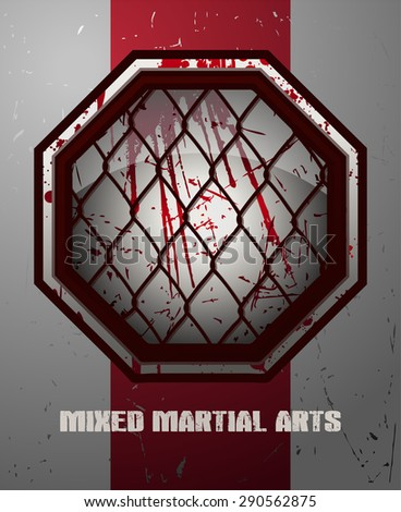 Bloody MMA Octagon Sign on a Grunge White and Red Background, Vector Illustration. - stock vector