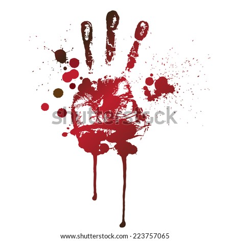 bloody print of a hand and fingers