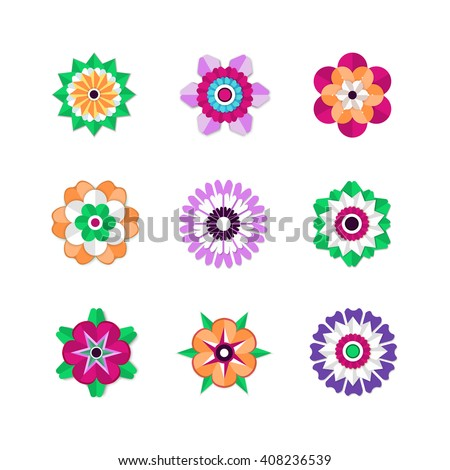Blooming Flowers. Set of colorful spring flowers. Vector flowers. Flower design. Flower isolated on white. Spring design. Paper flowers. Paper cut design. Paper cut style. Flower icon. Flowers vector.
