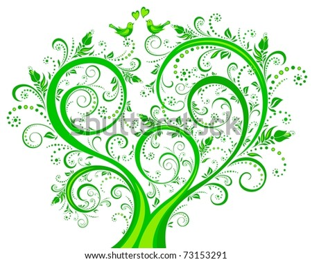 Blooming green tree, floral background, spring-summer ornament. Vector illustration. - stock vector