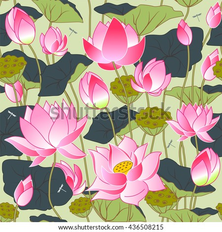 blooming pink lotus flowers, leaves, buds and lotus flowers, seamless vector background - stock vector