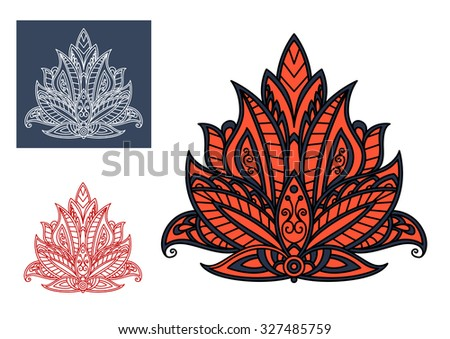 Blooming red persian paisley flower, decorated by blue and gray ornaments, for oriental textile or carpet pattern design - stock vector