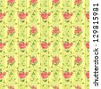 Blooming rose vintage wallpaper - stock vector
