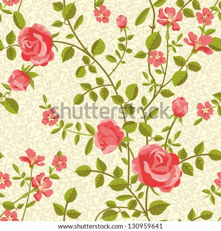 Blooming roses seamless pattern - stock vector