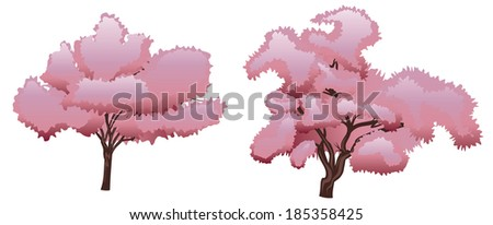 Blooming spring pink cherry blossom, sakura tree. - stock vector