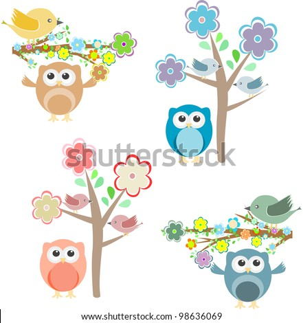Blooming tree and branches with sitting birds and owls - stock vector