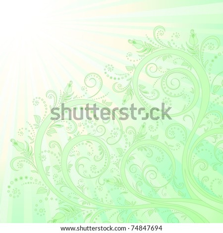 Blooming tree, floral background, spring-summer background. Vector illustration. - stock vector