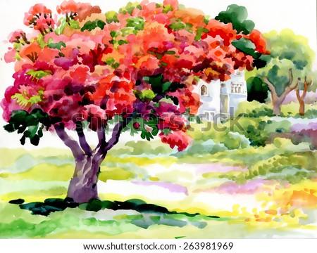 Blooming watercolor spring tree in garden vector illustration - stock vector