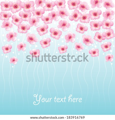 Blossom spring flowers card. Floral background with place for text  - stock vector
