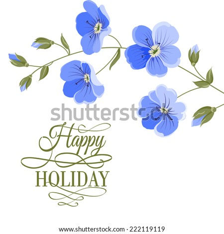 Blossoming flower brunch with spring flowers on white background. Vector illustration. - stock vector