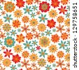blossoming pomegranate  seamless pattern  - stock vector