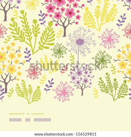 Blossoming trees horizontal border seamless pattern background - stock vector