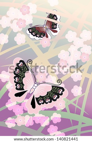 blossoms and butterflies: an illustration using traditional Japanese motifs - stock vector