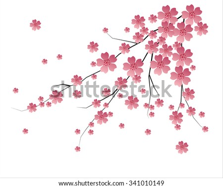 blossoms, stylized branches, vector image / oriental style painting, cherry blossom in spring - stock vector