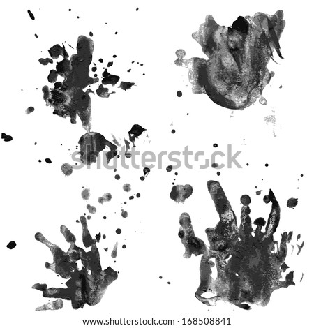 Blots and splashes of liquid paint on paper. vector - stock vector