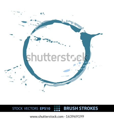 Blots from a glass on a white isolated background. Brush, watercolor grungy texture of blue. Vector EPS 10 illustration. - stock vector