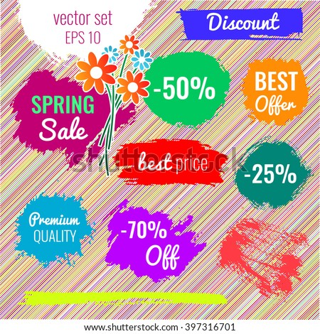 Blots, stains to label, discount, best price. Vector set illustration in grunge style EPS10 - stock vector