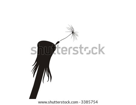 Blow Dandelion - alone.  See more vector dandelions in my portfolio - stock vector