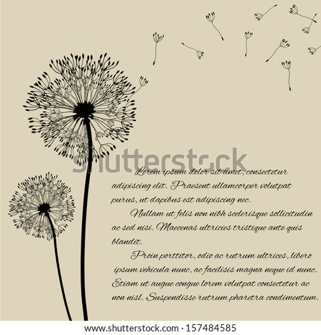 Blow dandelion concept on retro style background, vector illustration - stock vector