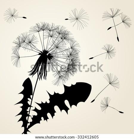 Blow dandelion silhouette. Vintage background concept. Vector illustration - stock vector