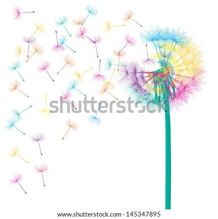 Blow dandelion vector background concept - stock vector
