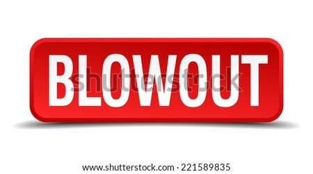 blowout red three-dimensional square button isolated on white background - stock vector