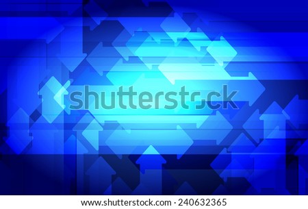 Blue abstract arrows background. Vector illustration. - stock vector