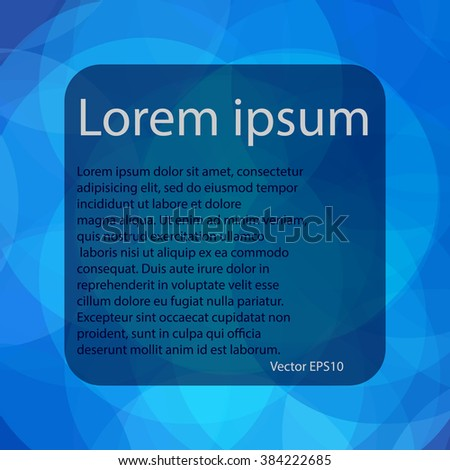 Blue abstract background for your text with circle, vector EPS 10 - stock vector
