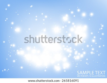Blue abstract background sparkles vector illustration - Shiny glitters in space vector  background illustration - stock vector