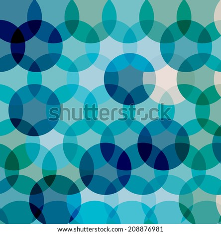 Blue abstract background with circles, vector illustration - stock vector
