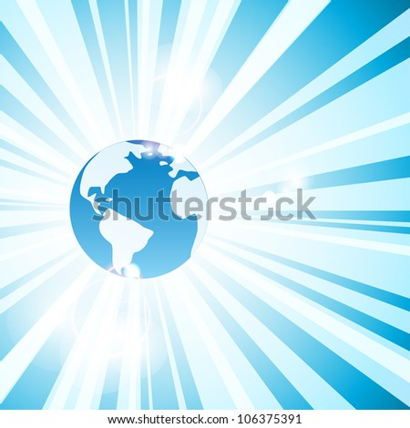 Blue abstract background with Earth and rays. Vector eps10 illustration - stock vector