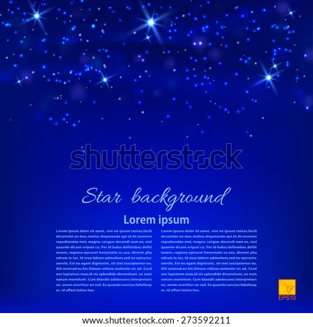 Blue abstract background with stars. Desktop Wallpaper or design element. Vector illustration - stock vector