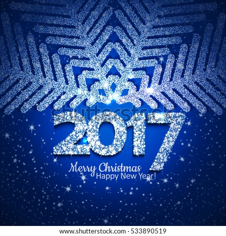 Blue abstract Christmas snowflake and 2017 New Year text with lights and sparkles. Vector illustration