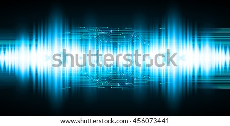 blue abstract cyber future technology concept background, illustration, circuit, binary code, sound wave vector