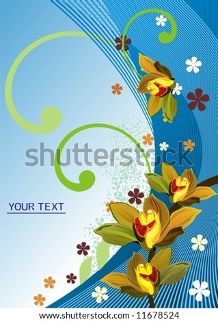 Blue abstract floral background - stock vector