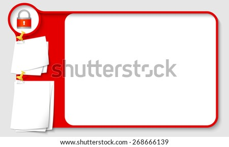 Blue abstract frame for your text with padlock and  papers for remark - stock vector