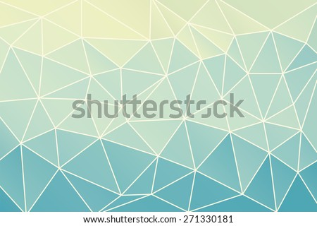 Blue abstract geometric background consisting of colored triangles and light mesh. - stock vector