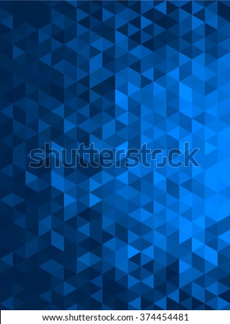 Blue Abstract Geometric Triangle Vertical Background - Vector Illustration Abstract Polygon Vector Pattern - Portrait Orientation  - stock vector