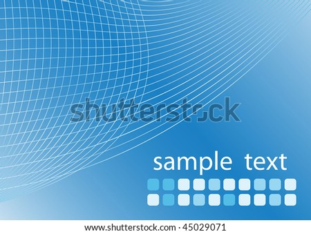Blue abstract gradient background with thin curves and clean space for your text - stock vector