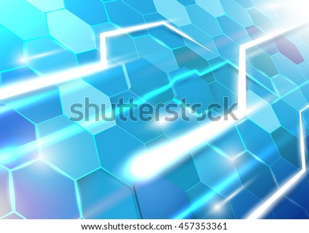 Blue abstract hexagon technology background. Line light. Geometric concept. vector design