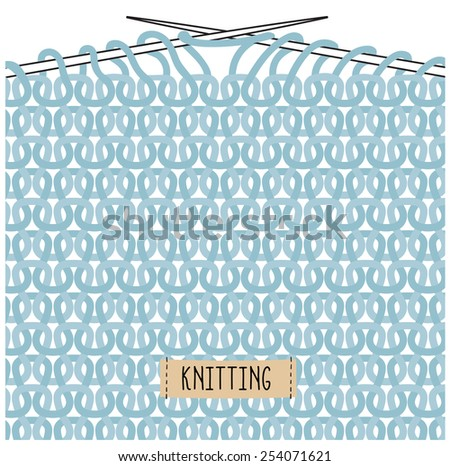 Blue abstract knitted background - stock vector