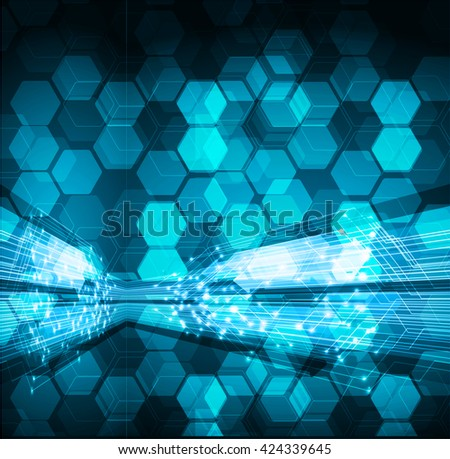 blue abstract light hi speed internet technology background illustration, Background conceptual image of digital.